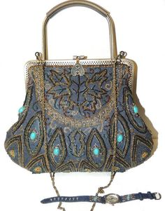BEADED TURQUOISE STONE Denim framed Handbag Purse Shoulderbag & watches