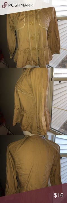 Bcbg girls khaki baby doll jacket size small Bcbg girls size small. Baby doll lightweight jacket with baby doll ruffle detail and with trench like front. Has stitching details along the collar and cuff. Preowned in mint condition. BCBGirls Jackets & Coats Trench Coats