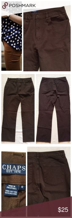 """CHAPS Brown Jeans CHAPS pants in great condition. Size 12, approximately 16"""" waist, 28"""" inseam. Chaps Pants"""