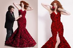 dress made from 1,725 flowers!