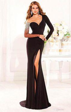 Wholesale- Sexy Carpet Tarik Ediz Evening Dress Long Sexy Mermaid Heer Neck Full Sleeves Beaded Prom Dress Formal Vestidos Online with $122.71/Piece on Centurybride's Store | DHgate.com