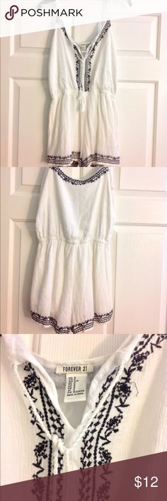 White and Black Romper Super cute and comfortable. Can be dressed up or down. In good condition. Forever 21 Other