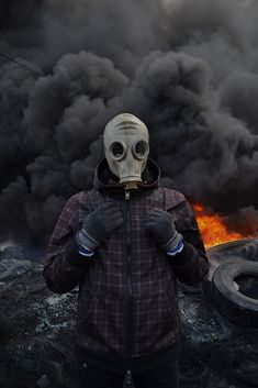 Kiev, Riots Photography, Gasmask. Smokebomb, Fire. Protest.