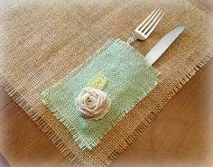 Set of 6, Burlap Placemats, Free Shipping, Hand Dyed Mint Green Napkin/Utensil Holders on Etsy, $46.00