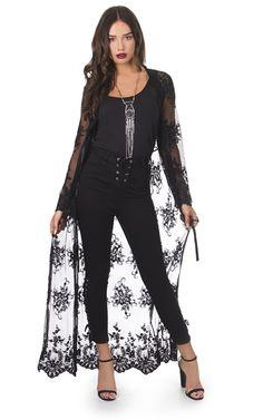 Wanderer Kimono Black Lace - SilkFred