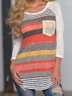 9437d60d37895 Sannysis Women Loose Stripes Lace Pocket O-neck Shirt Tops Blouses (S) Style   Fashion Material Cotton Blend Collar O-Neck Pls read the size detail on ...