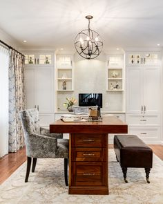 Home Office With Walnut Desk Various Levels Of Lighting
