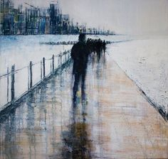 End of the line by lesley-oldaker Black And White Painting, White Art, Anime Comics, Abstract Landscape, Abstract Art, Urban Landscape, Art Alevel, Shadow Photography, Medieval