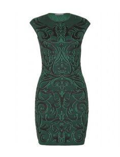 Alexander McQueen - intarsia knit dress (bottle green/black)