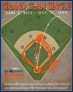 Mets Baseball Print Grand Slam Single by JustABitOutside on Etsy
