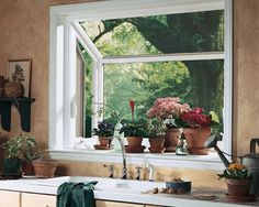 Grown herbs on back smaller bay window. Have a window that sticks out like this put in the back kitchen window.