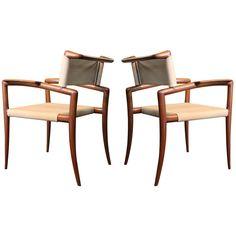 A very rare pair of sculptural klismos armchairs designed by Charles Allen for Regil de Yucatan in 1952.