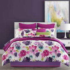 37 West Mia Comforter Set, Dark Pink