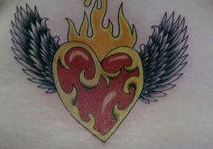 Pics For > Hearts With Wings And Flames