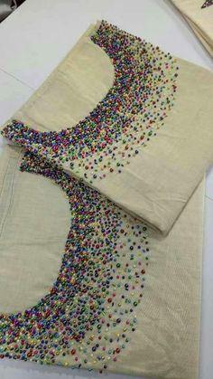 Yoke Diy Embroidery Patterns, Embroidery Online, Hand Embroidery Dress, Kurti Embroidery Design, Hand Embroidery Videos, Flower Embroidery Designs, Embroidered Clothes, Embroidery Fashion, Embroidery On Kurtis