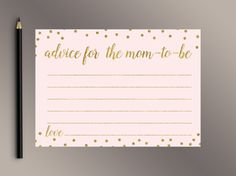 Advice for the Mom-To-Be Pink Gold Baby Shower Games Gold