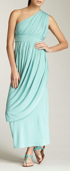 Mint | one shoulder maxi