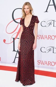Karlie Kloss in a polka dot Diane von Furstenburg dress