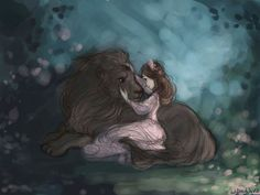 Aslan and Lucy by Willow Waves on deviantart