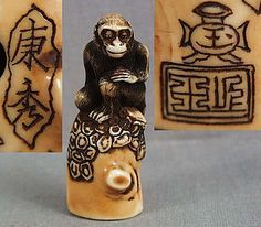 MONKEY by YASUHIDE // 19th century ivory netsuke carved as contemplative monkey sitting on an old pine tree stump with some of the bark remaining. Excellent sad face, superb hairwork, wonderful depiction of the bark remaining on the stump.