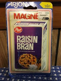 Raisin Bran Magnet ARJON Vintage Gag Gift 80s Fridge Cereal Box Fun