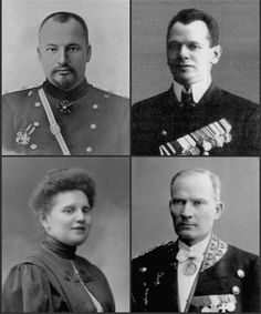 Преданные слуги. The Imperial servants (clockwise), Dr Evgeny Botkin, the cook Ivan Kharitonov, the footman Alexei Trupp, the maid Anna Demidova, all died in the night massacre July 17, 1918.