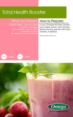 Delicious Summer Juice Recipe 3 - Total Health Booster Juice - A tasty, sweet treat with Omega Juicers!