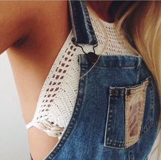 Love this mixture of crochet and denim, this would be so cute with low top converse.
