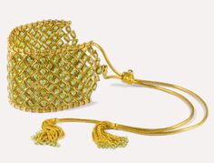 Munnu The Gem Palace The Gem 22 karat gold and peridot Bajuband (armband) with gold tassels. Inspired by traditional Mughal work.