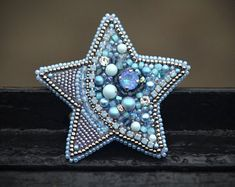 Statement Blue Star beaded pin brooch Mother day OOAK gift Unoque bead embroidery jewelry for woman Cosmic beaded pin - Bead embroidery patterns - Bead Embroidery Patterns, Bead Embroidery Jewelry, Beaded Embroidery, Wire Jewelry, Jewelry Crafts, Beaded Jewelry, Jewellery, Motifs Perler, Lesage