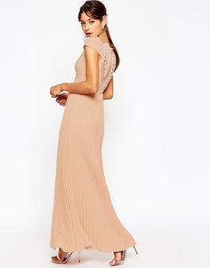ASOS (UK) $118.60 (size US 8 / UK 12 and up only) Image 1 ofASOS WEDDING Lace Back Pleated Maxi Dress