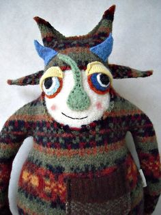 Stuffed Animal Monster Recycled Sweater Striped by sweetpoppycat, $40.00