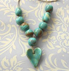 Handmade Ceramic Beads Set in Marbled Duck Egg by Bohulleybeads