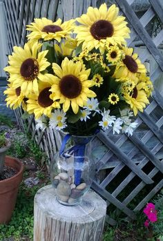 3 Large Sunflower Centerpieces Wedding by SilkFlowersByJean, $165.00