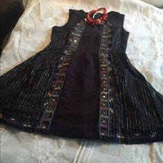 Free people dress Free people nwt beautiful embroidered dress , with silver lines🎈🎈way to cute🎈🎈 Free People Dresses Mini