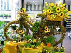 Mossy bike and sunflowers