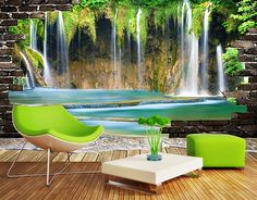 Custom Wall Mural Wallpaper Waterfall Landscape Background Photo Wall Paper Wall Painting Living Room Bedroom Wall Home Decor Custom Wall Murals, 3d Wall Murals, Bedroom Murals, Bedroom Tv, Landscape Wallpaper Living Room, Wall Painting Living Room, Custom Wallpaper, Photo Wallpaper, Wall Wallpaper
