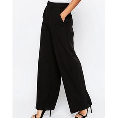 ASOS Wide Leg Trousers with Pleat Detail (220 DKK) via Polyvore featuring pants, wide-leg trousers, relaxed fit pants, wide leg pants, high waisted wide leg pants and high-waisted trousers