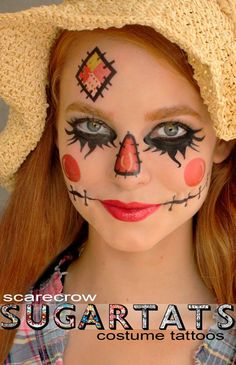 Scarecrow - Temporary Tattoos - Costume Halloween 2013 Makeup Halloween Makeup #halloween #makeup