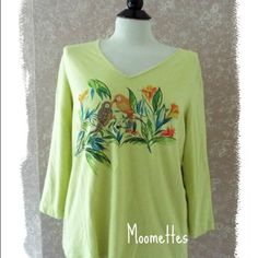 Chico's Tops - Chicos Top Beaded Tropical Birds Lime Green 2 #poshmark