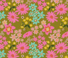 more vintage floral wallpaper fabric by missletterm on Spoonflower - custom fabric