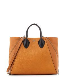 Pour la Victoire Yves Pebbled Leather Tote Bag, Cognac