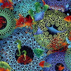 Return to Atlantis by Jason Yenter. I love these fabrics! I want some of each! Caleb needs some shark shorts!