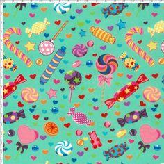 Tecido Estampado para Patchwork - RB005 Candy Verde Claro Cor 02  100% Algodão  Fabricante:  Fernando Maluhy