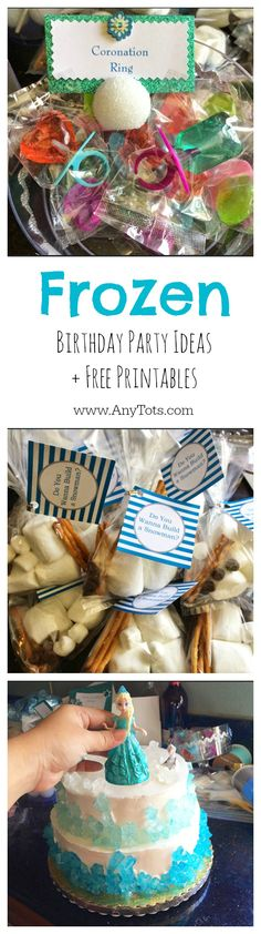 Frozen Birthday Party Ideas, Free Printables, Cake idea, A Kiss to Melt a Frozen Heart, favors, etc. #frozen www.anytots.com