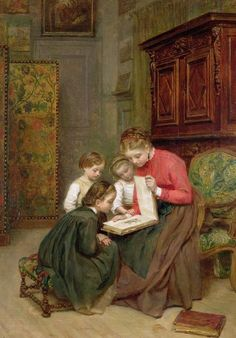 The Family Album Painting - The Family Album by Charles Edouard Frere