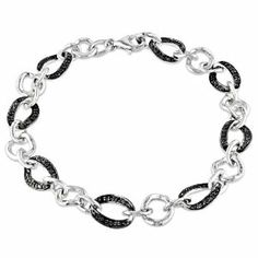 Sterling Silver 1/4 CT TDW Black Diamond Bracelet (7.5 in) Amour. $149.99