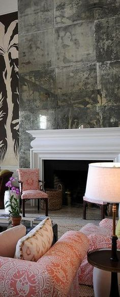 antique mirror tiles over mantel Fireplace Mirror, Fireplace Remodel, Fireplace Ideas, Antique Mirror Tiles, Antiqued Mirror, Chimney Breast, Interior Decorating, Interior Design, Wall Treatments