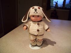 """Berenguer 5"""" Baby Dolls - Dog Outfit # 115  More can be seen on Pinterest under Jana Langley Berenguer 5"""" Dolls with crocheted outfits"""