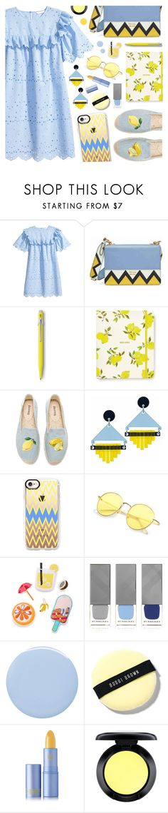 """Eyelet dress: Fresh Lemonade"" by the-amj ❤ liked on Polyvore featuring Prada, Caran d'Ache, Kate Spade, Soludos, Toolally, Casetify, Celebrate Shop, Burberry, Deborah Lippmann and Bobbi Brown Cosmetics"
